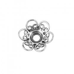 14mm Sterling Silver Bead End Cap - Ornate Flower (PK1)