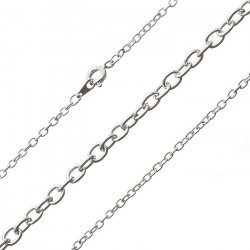 """Silver Plated Oval Link Trace Chain Ready Made 16"""""""