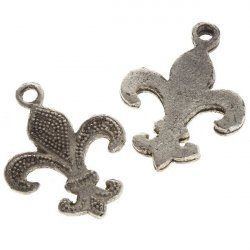 Antique Silver Fleur de Lys Charm Pendants 31x23mm PK2