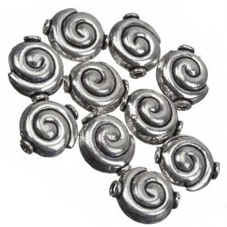 Antique Silver Snail Shell Swirl Round Beads 15mm PK10