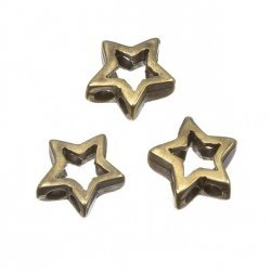 Antique Brass Cut Out Metal Star 2 Hole Beads 13mm PK3