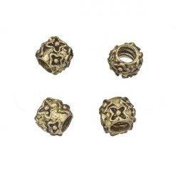 Antique Brass Flower Pattern Barrel Spacer Bead 9mm PK4