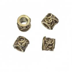 Tibetan Swirl Barrel Spacer Beads Antique Brass 8mm PK4