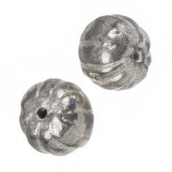 Silver Plated Pumpkin Ribbed Round Metal Beads 18mm PK2