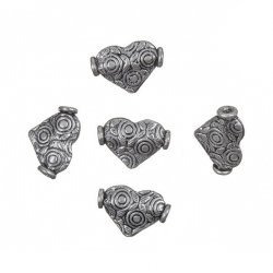 Antique Silver Metal Heart Bead Jewellery Charm 13mm PK5