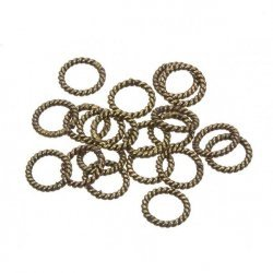 Twisted Rope Antique Brass Ring Spacer Beads 8mm PK20