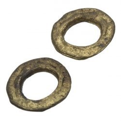 Flat Donut Antique Gold Ring Link Connector 23mm PK2