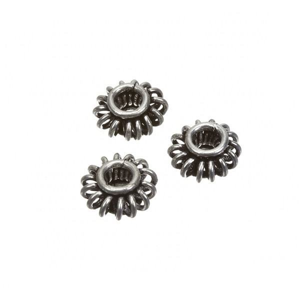 Flying Saucer Antique Silver Metal Spacer Bead 10x5mm PK3