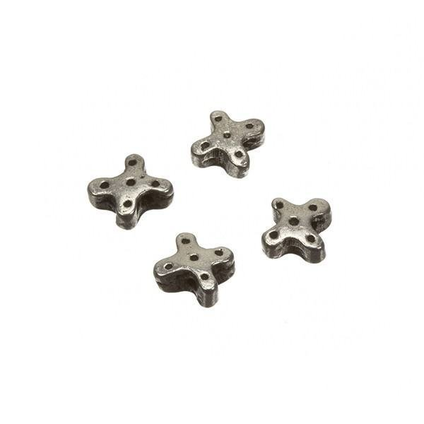 Small Antique Silver Metal Dotted Cross Spacer Bead 6mm PK4