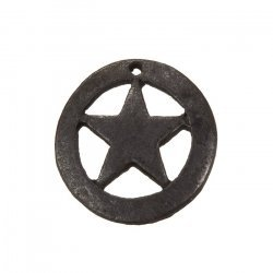Captain America Cut Star Charm Pendants Gunmetal Black 18mm PK1