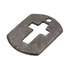 Black Rectangle Cut Out Cross Tag Charm Pendants 30x22mm PK1