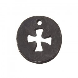 Gunmetal Black Round Cut Out Cross Charm Pendants 23mm PK1