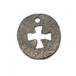 Antique Silver Round Cut Out Cross Charm Pendants 23mm PK1