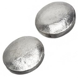 Silver Plated Metal Disc Flat Round Bead 28x4mm PK2