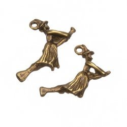 Antique Brass Flying Witch Halloween Charm Pendants 22mm PK2
