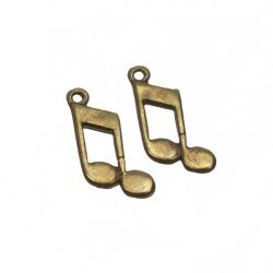 Antique Brass Double Quaver Musical Note Charm 15mm PK2