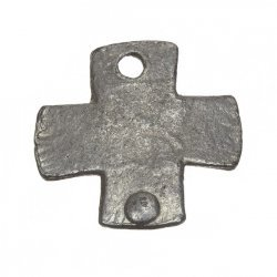 Antique Silver Rivet Cast Iron Plain Cross Charm Pendant 26mm