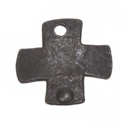 Gunmetal Black Rivet Cast Iron Plain Cross Charm Pendant 26mm