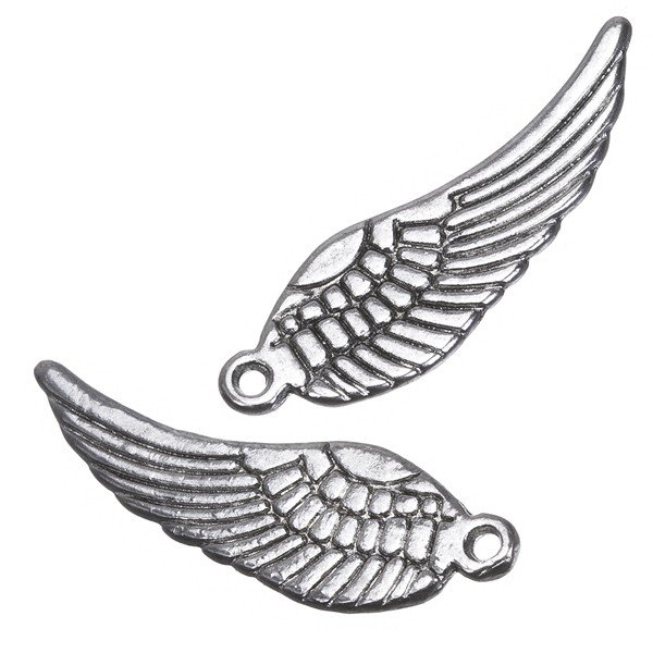 Antique Silver Double Sided Angel Wings Charm Pendants 30mm PK2