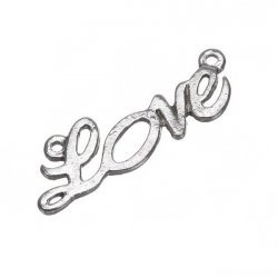 Antique Silver Word Love Connector Charm Pendant 30mm PK1