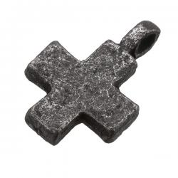 Antique Black Iron Plain Cross Charm Pendant With Loop 18mm