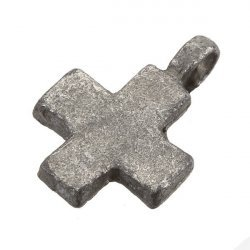 Antique Silver Iron Plain Cross Charm Pendant With Loop 18mm