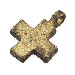 Antique Gold Iron Plain Cross Charm Pendant With Loop 18mm