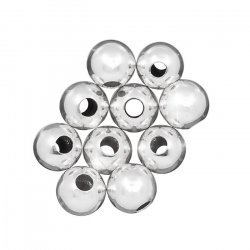 6mm Silver Plated Round Spacer Beads Hole Size 2mm PK10