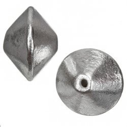 Silver Plated Large Metal Bicone Focal Beads 21mm PK2