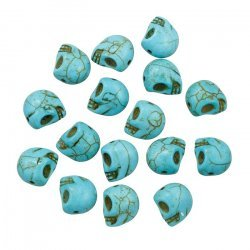 Synthetic Dyed Turquoise Gothic Skull Beads 12mm PK16