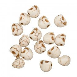 Beige Gothic Skull Beads Synthetic Turquoise 10mm PK16