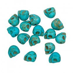 Gothic Skull Shape Beads Synthetic Turquoise 10x8mm PK16