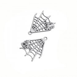 Tibetan Silver Plated Alloy Spider Web Charms 32mm PK2