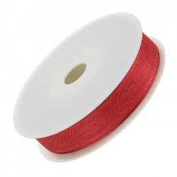 Red Organza Sheer Ribbon 15mm sold on a 25 metre reel