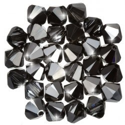 Swarovski Xilion Bicones Crystal Silver Night 6mm PK30