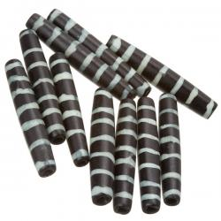 Black Bone Safari Hairpipe Tube Bead With White Stripe 35mm PK10