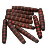 Black Bone Safari Hairpipe Tube Bead With Red Stripe 35mm PK10