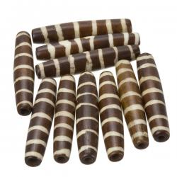 Brown Bone Safari Hairpipe Tube Bead With Cream Stripes 35mm PK10