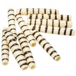 Natural Bone Hairpipe Tube Bead With Brown Stripes 35mm PK10