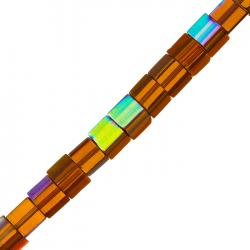 Square 7mm Cube Glass Beads Orange & Gold (16