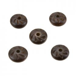 Rustic Dark Brown Carved Wood Saucer Disc Donut Beads 17x7mm PK5