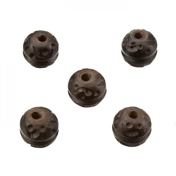 Dark Brown Hand Carved Hard Wood Round Spacer Beads 15mm PK5