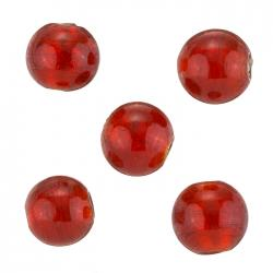 Silver Lined Large Round (14mm) Red Glass Beads - PK5