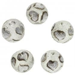 Hand Painted Grey Heart Design Frosted Glass Beads PK5