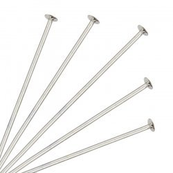 Flat Head Soft Headpins 3 inch Silver Plated 76mm PK50