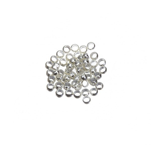 Silver Plated Crimp Beads (Crimps) 2mm PK50