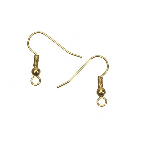 Gold Plated Fish Hook Ball And Spring Earwires 20mm 10 Pairs