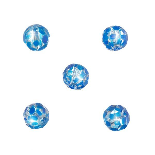 Handpainted Blue Dot Faceted Clear 10mm Glass Beads PK5