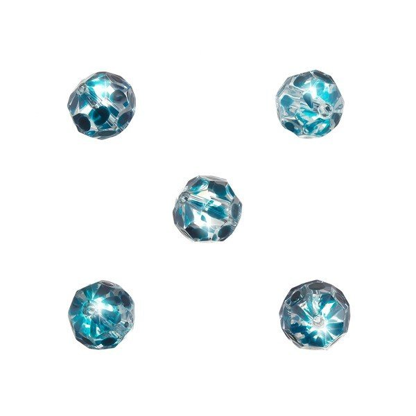 Handpainted Teal Dot 10mm Faceted Clear Glass Beads PK5
