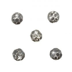 Grey Spotted Hand Painted 10mm Faceted Glass Beads PK5